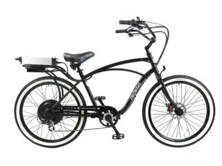 Cruiser Bicycle Bike Black Frame Black Rims White Wall Tires