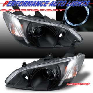 Honda Civic 2dr 4DR Black Halo Rim Projector Headlights Pair