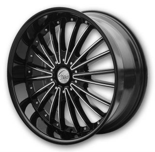 22 487 Gino Black Machine Wheel Rims Fit Chevy Cadillac GMC Nissan