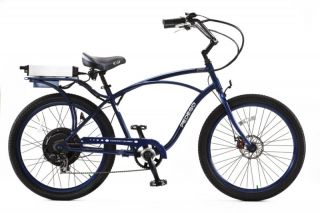 Cruiser Bicycle Bike Blue Frame Blue Rims Black Balloon Tires