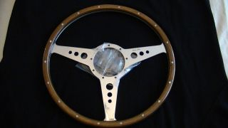MOTO LITA 15 MK3 FLAT WOOD RIM HOLES STEERING WHEEL HEALEY JAGUAR MG A