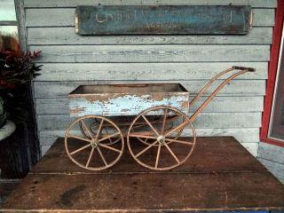 1800s Wagon Cart Wooden Spoke Wheels Original Blue Paint Patina