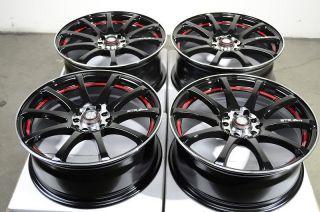17 5x100 5x114 3 Black Red Rims Lexus Taurus Eclipse Celica ES330