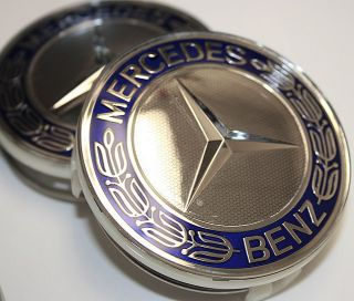 Mercedes Benz Blue AMG Wheel Center Caps C300 C320 C280