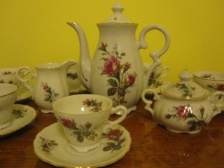 Beautiful Vintage 15 Piece Antique Floral Tea Set Pot with Gold