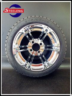 Golf Cart 12 Chrome Aluminum Wheels and 215 40 12 Low Profile Tires