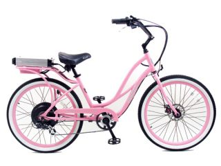 Cruiser Bicycle Bike Pink Frame Pink Rims White Wall Tires