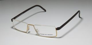 8105 A 50 17 150 Gold Brown Half Rim Eyeglass Glasses Frames