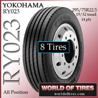 Tires Yokohama RY023 295 75R22 5 14 Ply Tire Semi Truck Tires 22 5LP