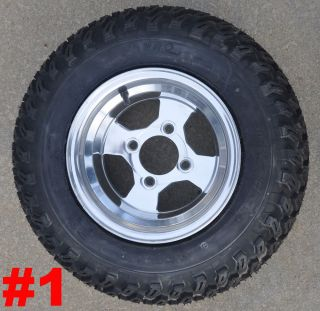Golf Cart 10x7 Aluminum Wheels Set Rims All Terrain Knobby Tires