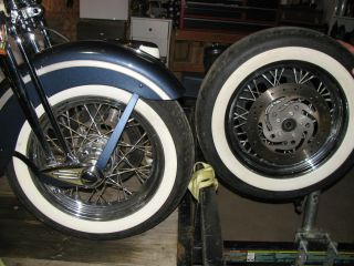 Harley Davidson Dunlop 90 16 White Wall Tires and Spoke Rims