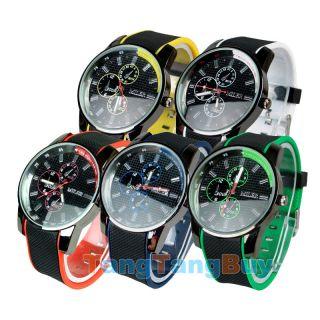 Men Boys Unisex Sports Cool Dial Quartz Japan Movement Band Wristwatch