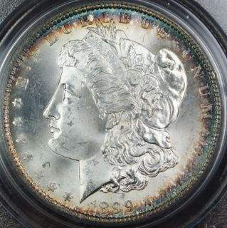 1899 O Morgan Silver Dollar Coin PCGS MS 65 Toned Rim