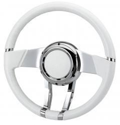 Flaming River Waterfall Steering Wheel White Italian Leather Wrap