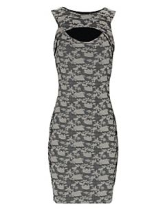 Jane Norman Peep hole floral dress Cream   House of Fraser