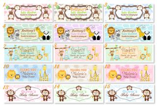 Baby Shower King of Jungle Monkey Votive Bubble Thank You Favor LABELS