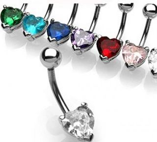 FANCY PRONG HEART CZ GEM BELLY NAVEL RING BUTTON PIERCING JEWELRY B591