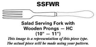 Oneida Capri (Stainless) Salad Serving Fork with Wooden Prongs HC   Stainless, D