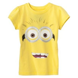 Despicable Me Infant Toddler Girls Short Sleeve Minion Face Tee   Yellow 3T