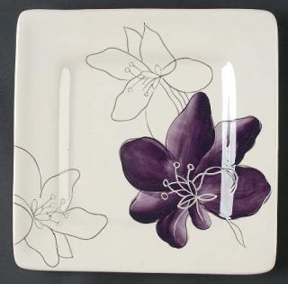 Laurie Gates Anna Plum Square Salad Plate, Fine China Dinnerware   Purple Flower