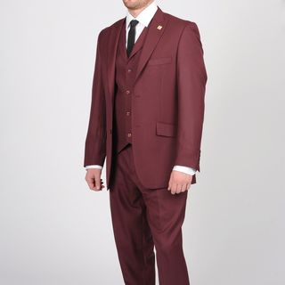 Stacy Adams Mens Burgundy Two button Vested Suit