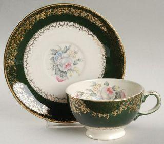 Salem Princess Anne Footed Cup & Saucer Set, Fine China Dinnerware   Floral Cent