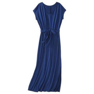 Merona Womens Knit V Neck T Shirt Maxi Dress   Waterloo Blue   M