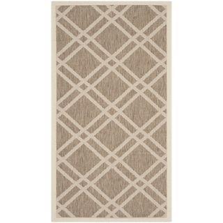Safavieh Indoor/ Outdoor Courtyard Brown/ Bone Geometric pattern Rug (27 X 5)