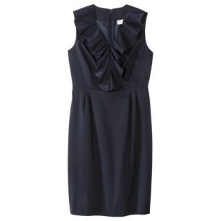 Merona Womens Twill Ruffle Neck Dress   Federal Blue   12
