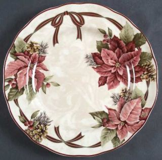 222 Fifth (PTS) Yuletide Celebration Dinner Plate, Fine China Dinnerware   Red &