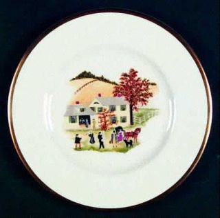 Shenango Grandma Moses Salad Plate, Fine China Dinnerware   Multimotif Farm Scen