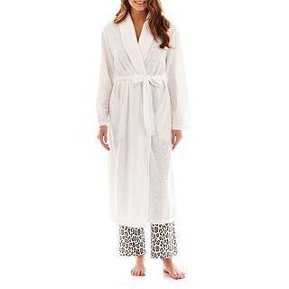 Jasmine Rose Houndstooth Knit Robe, White, Womens