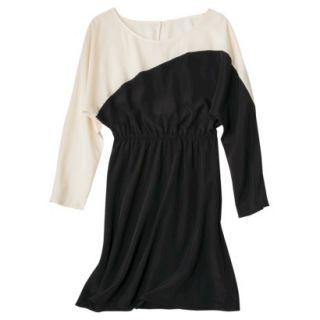 Mossimo Womens Long Sleeve Colorblock Dress   Ebony/Shell XS