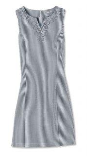 Soutache trimmed Seersucker Shift Dress, Deep Navy, 8