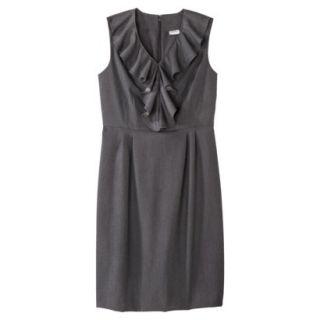 Merona Womens Twill Ruffle Neck Dress   Heather Gray   16