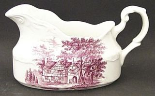 J & G Meakin Romantic England Red Gravy Boat, Fine China Dinnerware   Red Scenes
