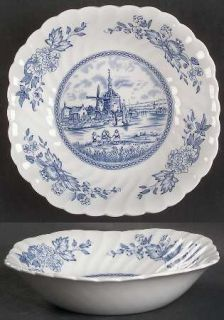 Johnson Brothers Tulip Time Blue (White Background) Square Soup Bowl, Fine China