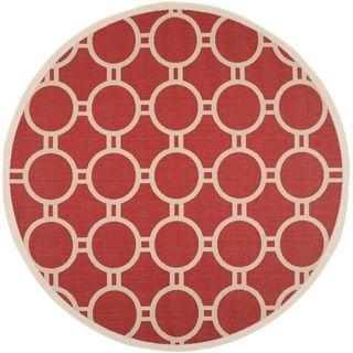 Safavieh Indoor/ Outdoor Polypropylene Courtyard Red/ Bone Rug (710 Round)