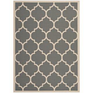 Safavieh Courtyard Anthracite/beige Indoor/outdoor Stain resistant Rug (4 X 57)