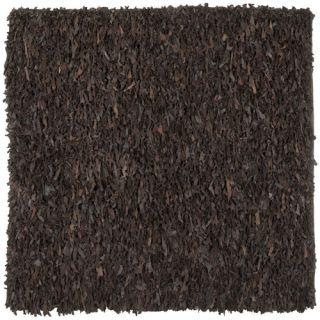Safavieh Leather Shag Dark Brown Rug LSG421D Rug Size: Square 6 x 6