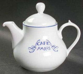 Bernardaud Cafe Paris Blue Mini Teapot & Lid, Fine China Dinnerware   Residence,