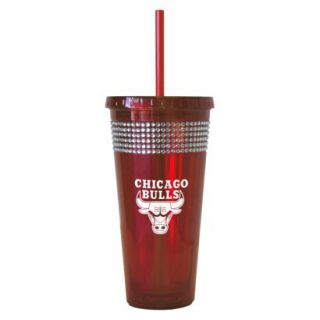 Boelter Brands NBA 2 Pack Chicago Bulls Bling Straw Tumbler   Red (22 oz)