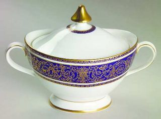 Royal Doulton Imperial Blue Sugar Bowl & Lid, Fine China Dinnerware   Gold Filig