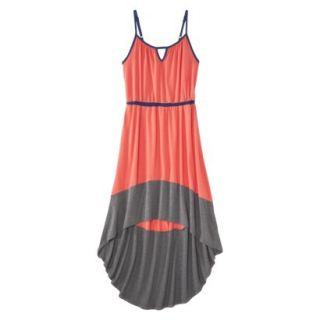 Merona Womens Knit Colorblock High Low Hem Dress   Clear Mango/Gray   XS