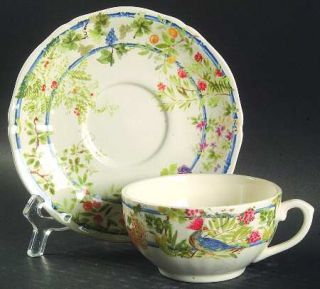 Gien Villa Medicis Flat Cup & Saucer Set, Fine China Dinnerware   Fruit,Flowers,