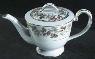 Noritake Allison Teapot & Lid, Fine China Dinnerware   Gray/Brown Flowers, Brown