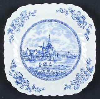 Johnson Brothers Tulip Time Blue (White Background) Square Salad Plate, Fine Chi