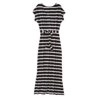 Merona Womens Knit V Neck T Shirt Maxi Dress   Black/White   M