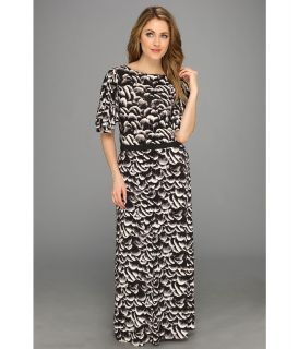 Tbags Los Angeles Split Sleeve Waisted Maxi w/ Cut Out Back Detail Black Waistband Womens Dress (Black)