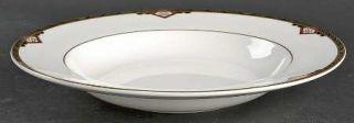 Spode Harvard Large Rim Soup Bowl, Fine China Dinnerware   Black And Gold Band,